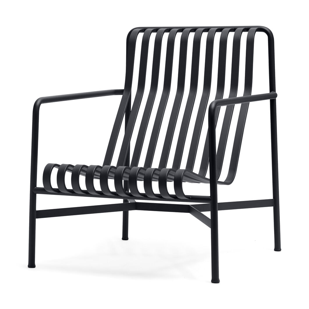 HAY Palissade Outdoor High Lounge Chair in color Anthracite