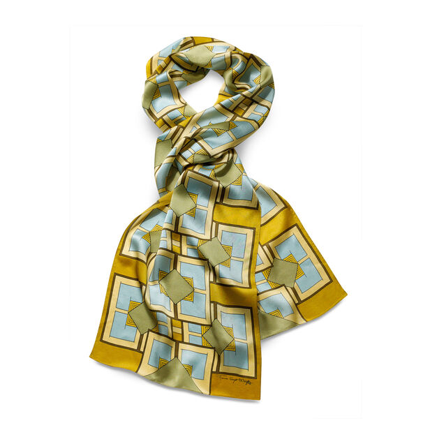 Frank Lloyd Wright: Imperial Hotel Rug Scarf Gold in color Gold
