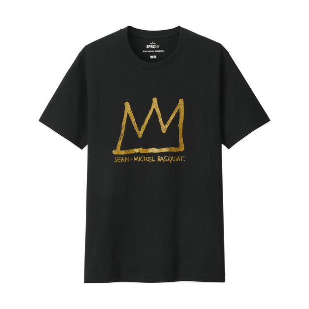 UNIQLO Jean-Michel Basquiat Gold Crown T-Shirt in color Black