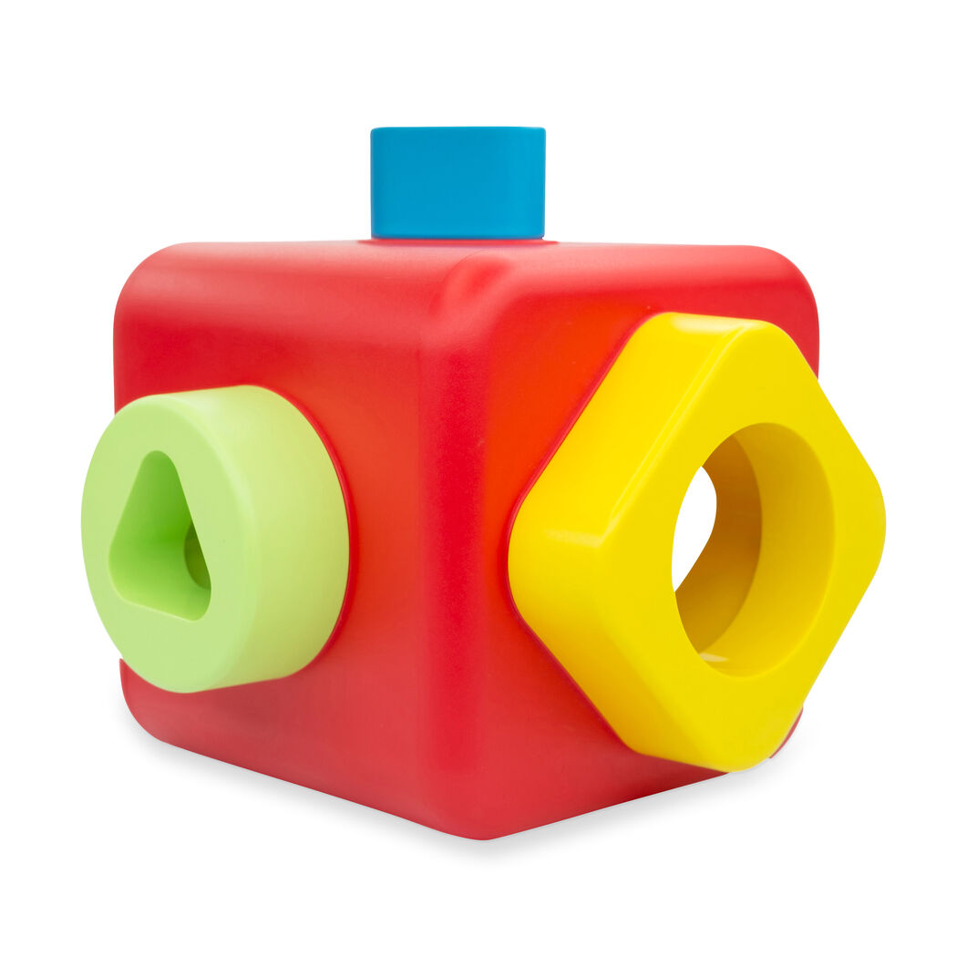 Shape Sorting and Stacking Cube in color