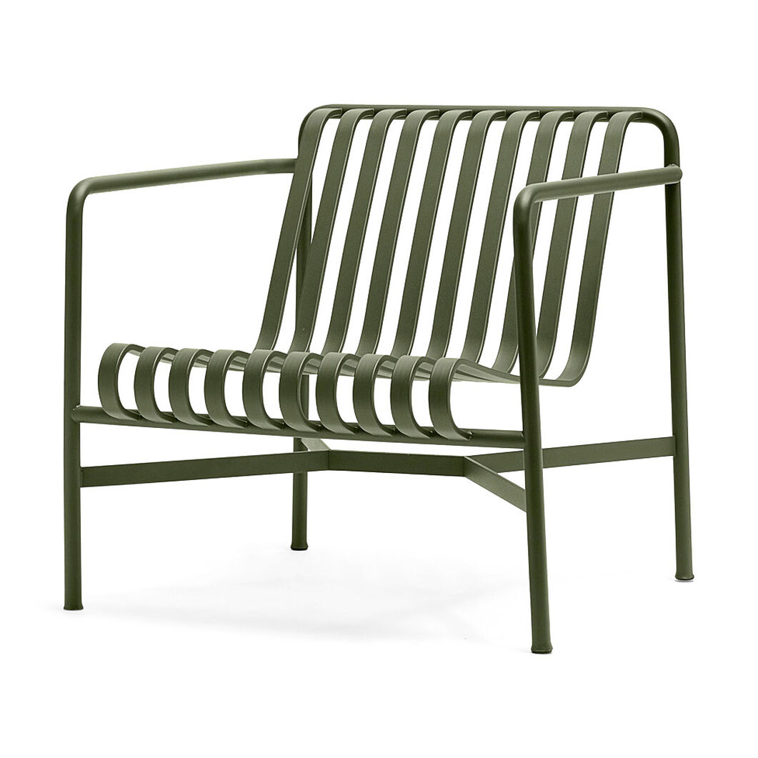 HAY Palissade Outdoor Low Lounge Chair in color Olive
