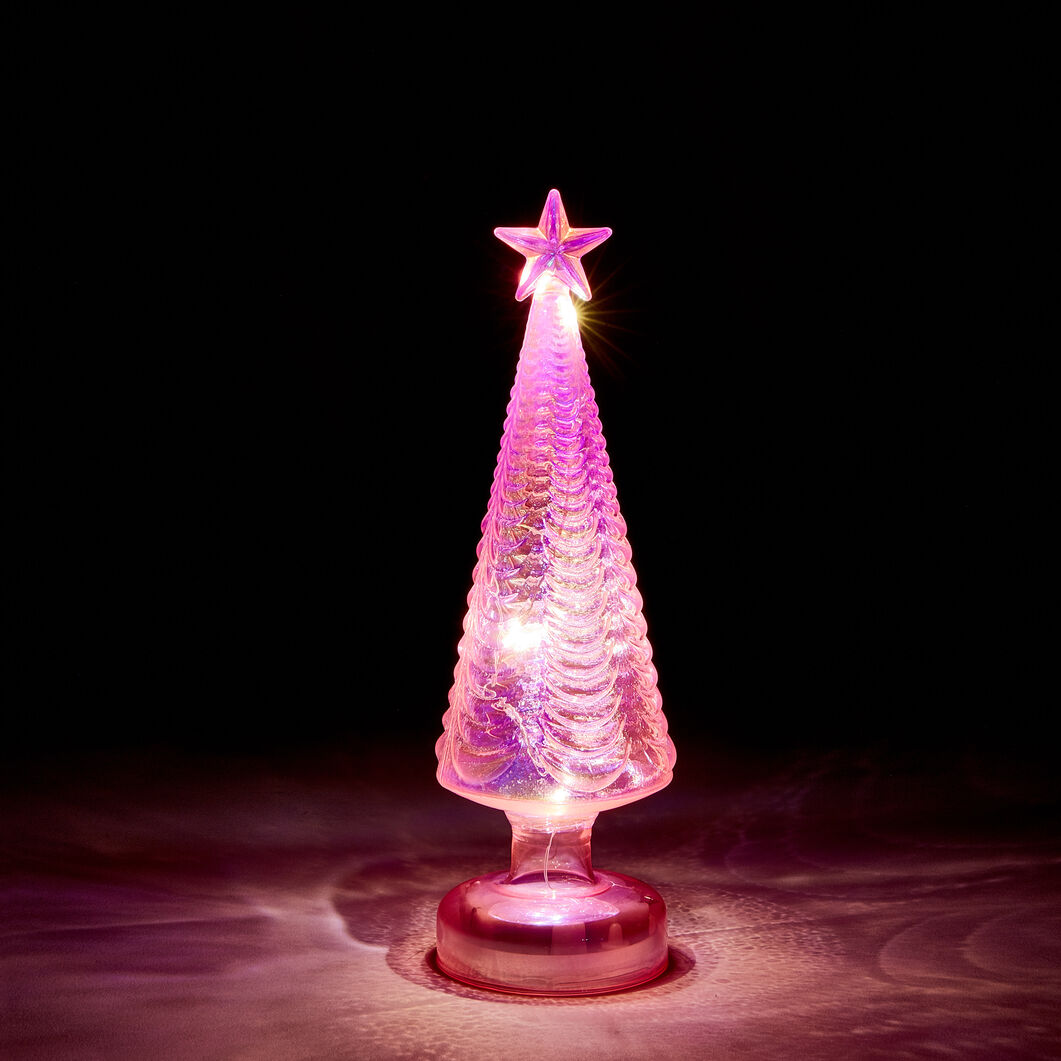 LED Glass Lighted Tree in color Pink
