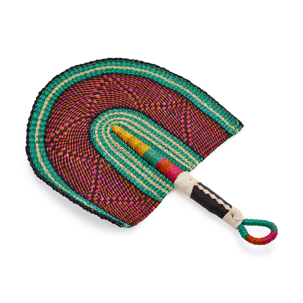Baba Tree Bolga Handwoven Fan in color Orange/ Green