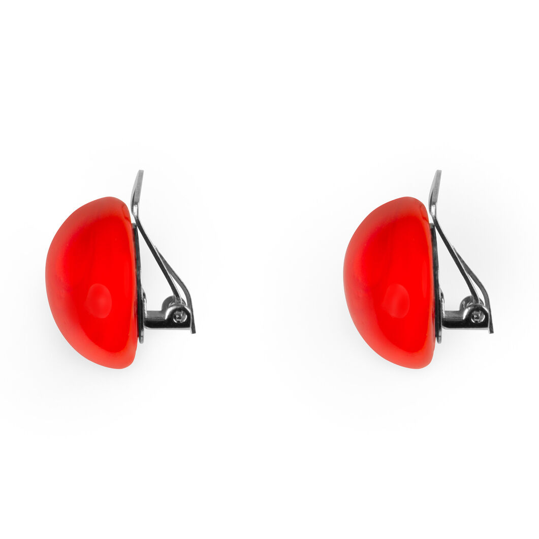 Glass Lobo Clip Earrings Red in color Red