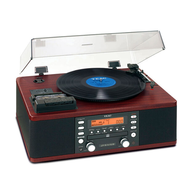 TEAC LP-R660USB-PB CD Recorder with Cassette Player and Turntable in color Wood