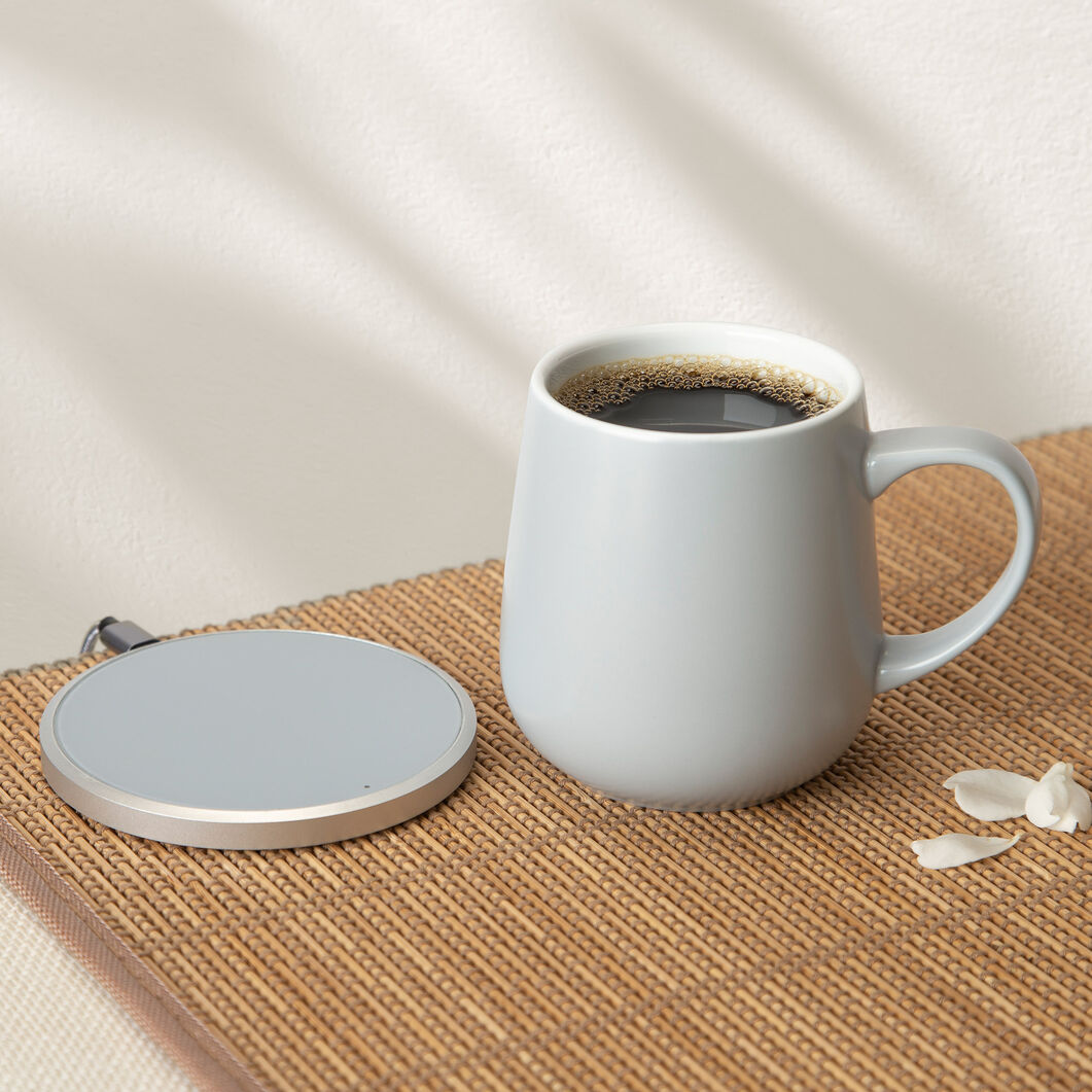 Ui Self-Heating Ceramic Mug & Charger in color Soft Gray