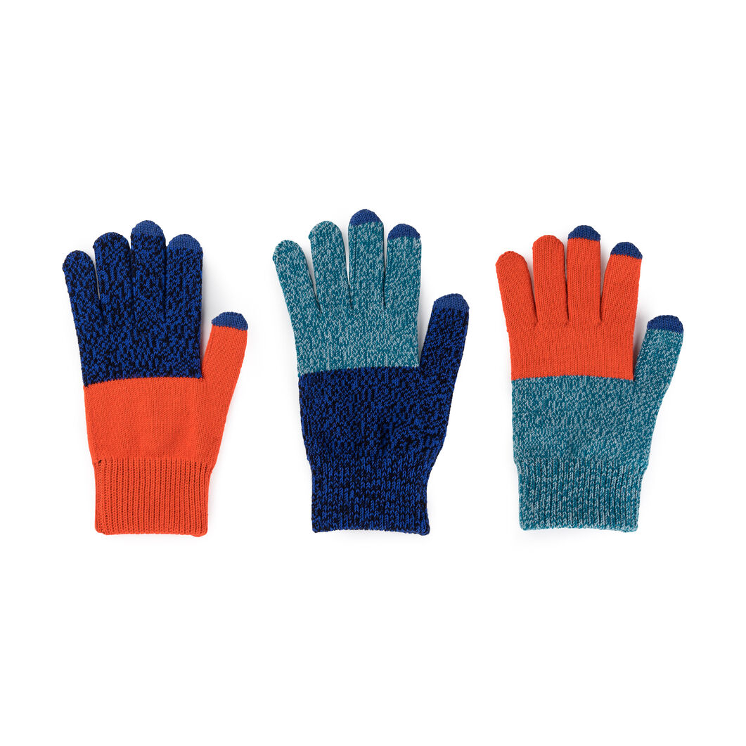 Pair & a Spare Color Block Smart Gloves in color Teal/ Cobalt