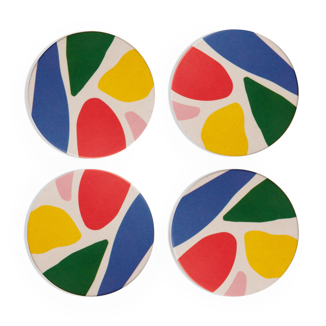 Poketo Abstract Bamboo Coasters - Set of 4 in color