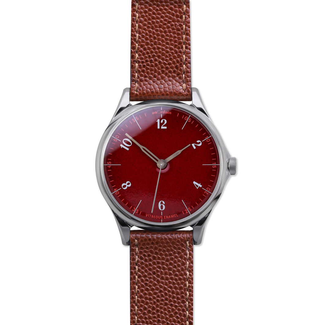 anOrdain Model 1 Watch - Post Office Red Dial in color Pin Grain