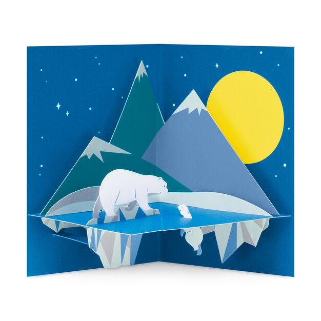 Moonlit Polar Bear Holiday Cards - Set of 8 in color