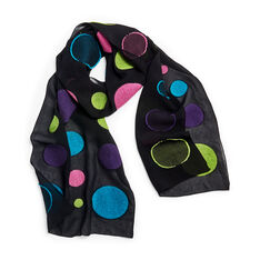 Multi Retro Dots Scarf in color Black/ Multi