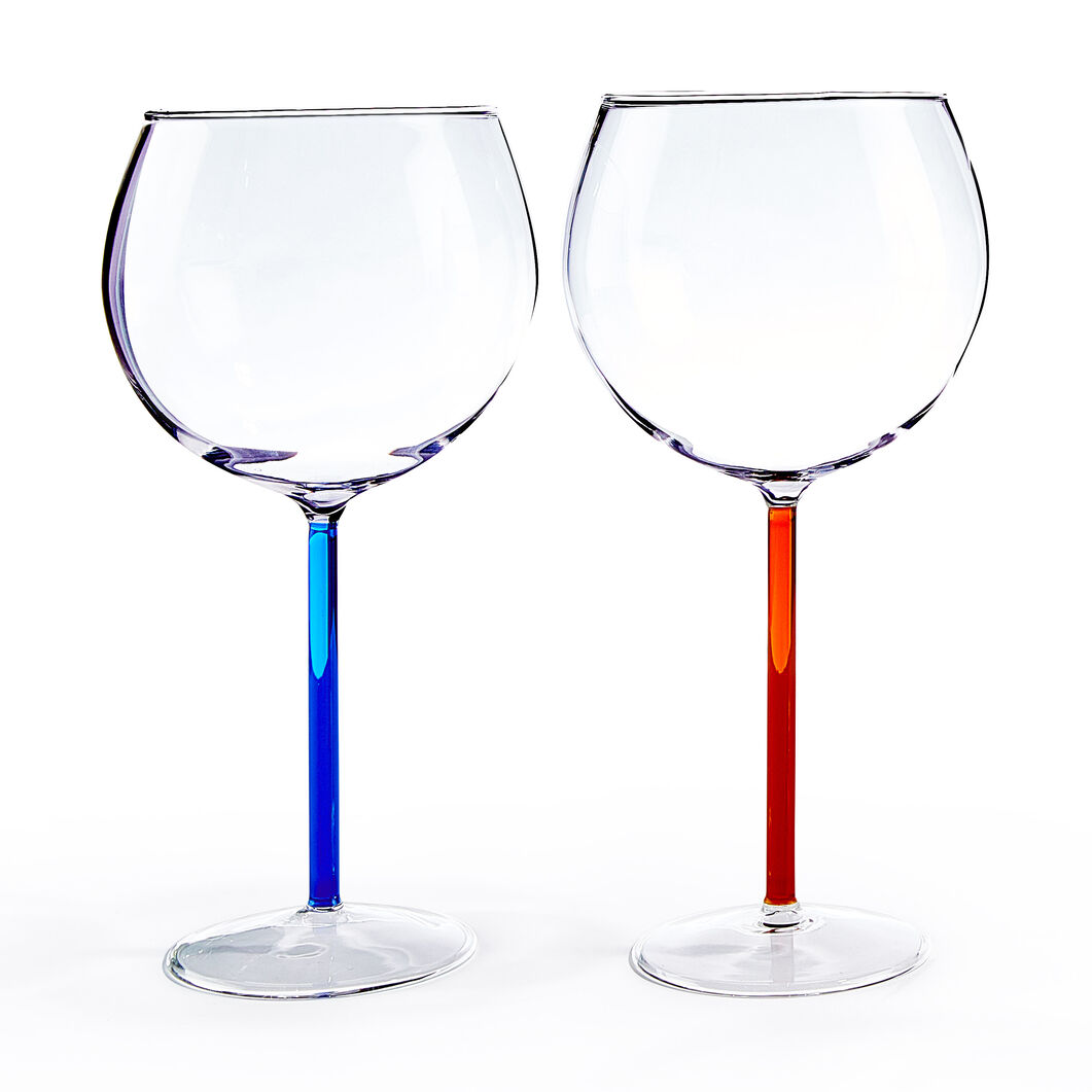 Color Accent Red Wine Glasses Set in color Blue/ Red Orange