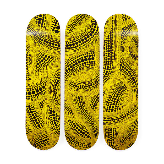 Yayoi Kusama Yellow Trees Skateboard Triptych in color