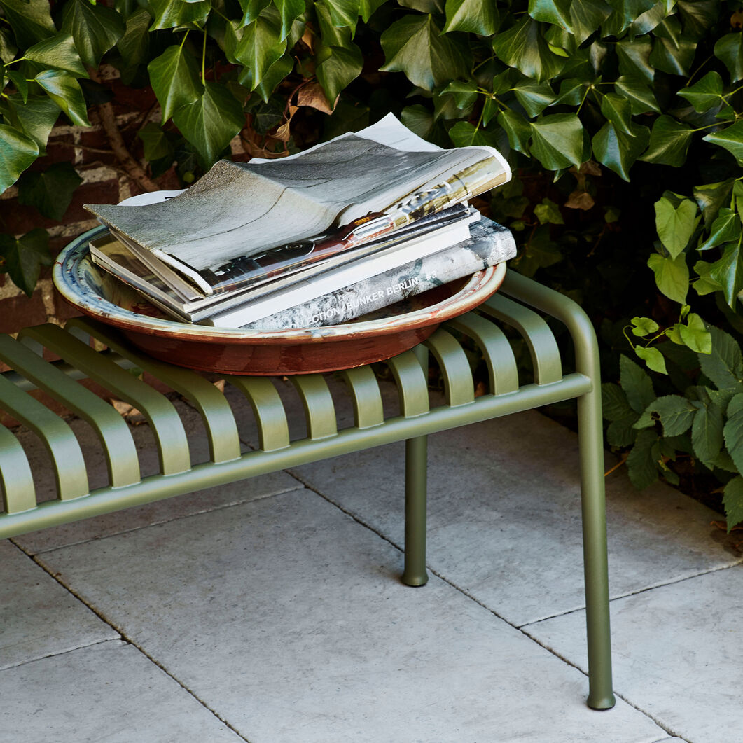 HAY Palissade Outdoor Bench in color Olive