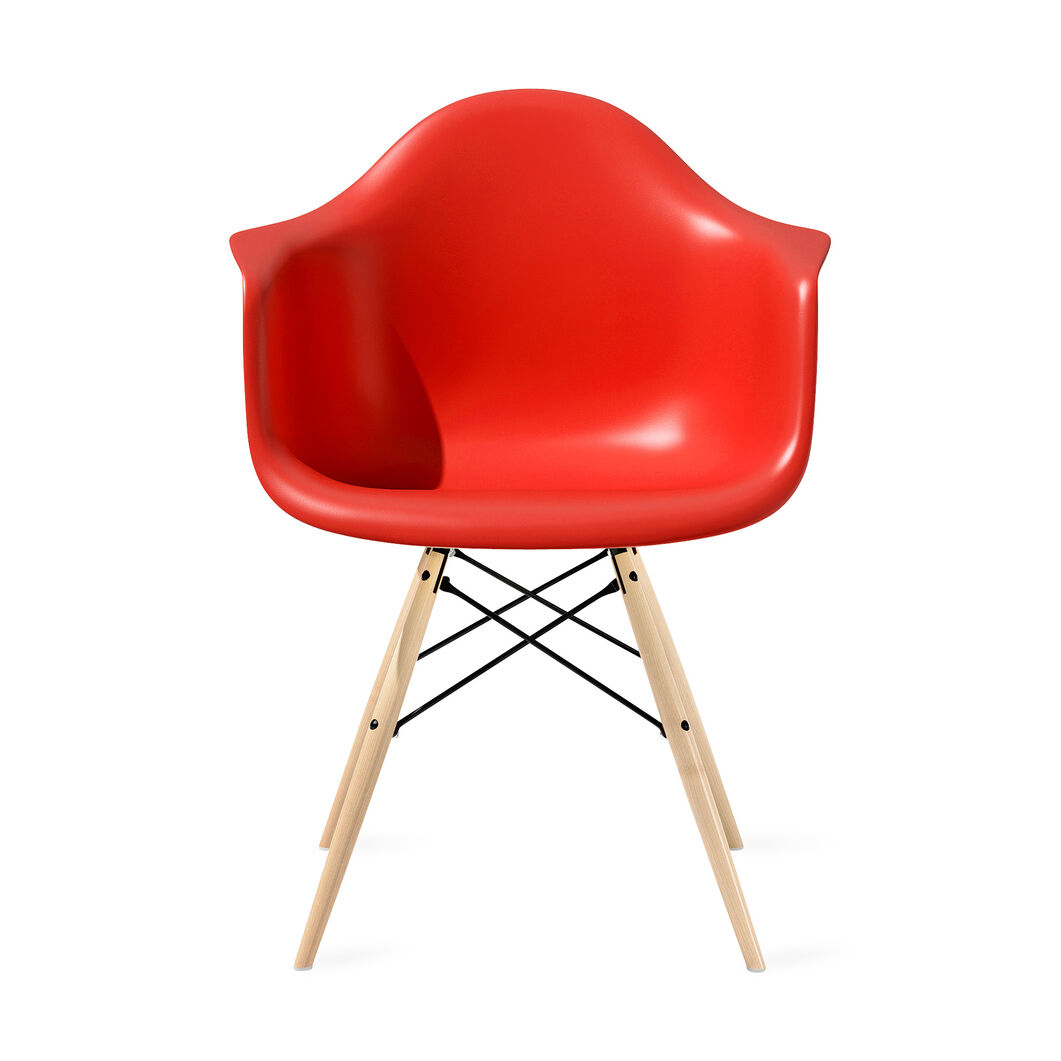 Eames® Molded Plastic Armchair with Dowel-Leg Base (DAW) in color Red