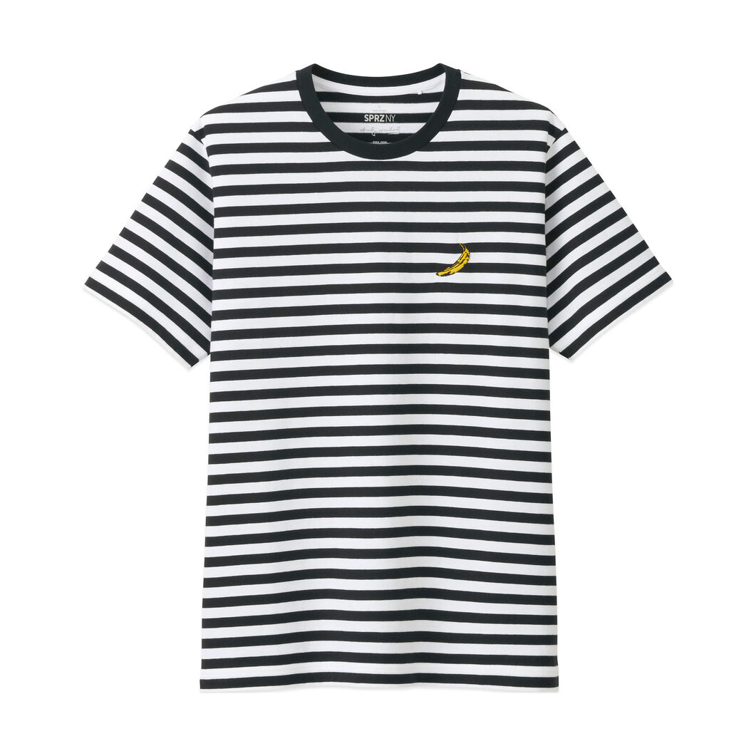 UNIQLO Andy Warhol Gold Banana Striped T-Shirt in color Black/White