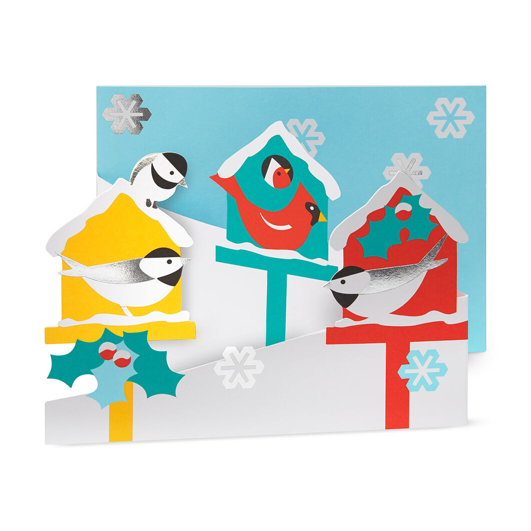 Merry Birdhouses Holiday Cards in color