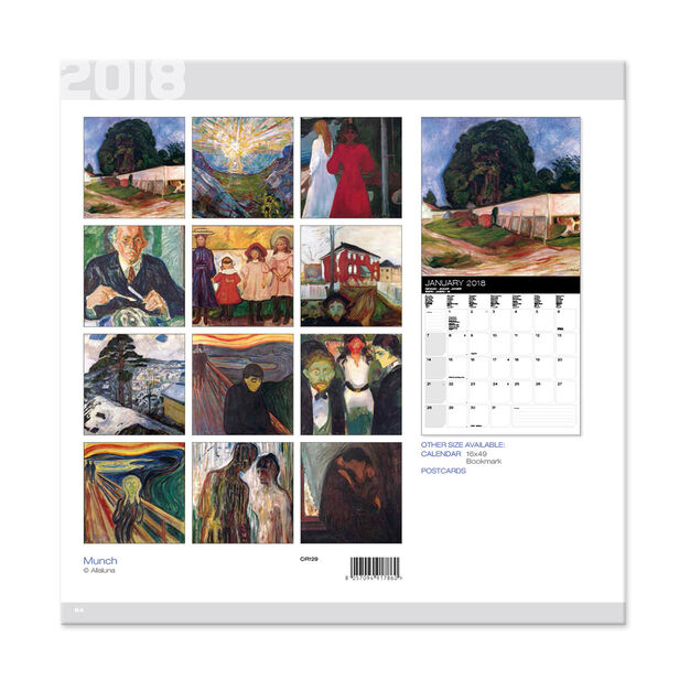 2018 Munch Wall Calendar in color