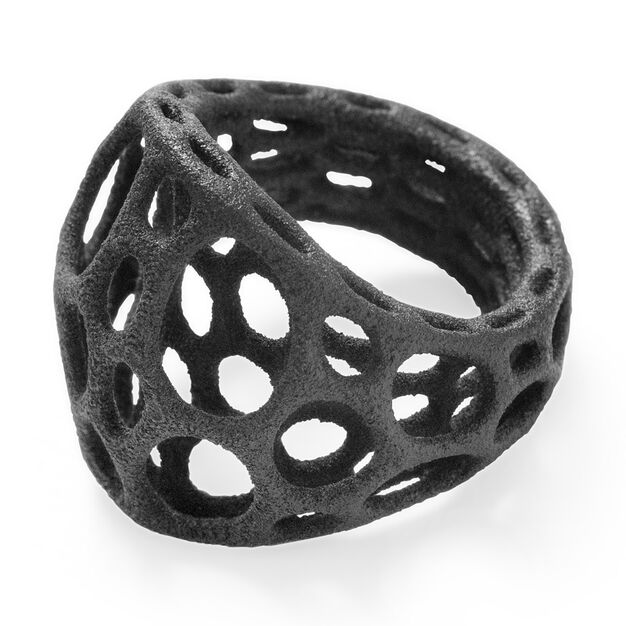 Two-Layer Center Ring Size 7 in color Black