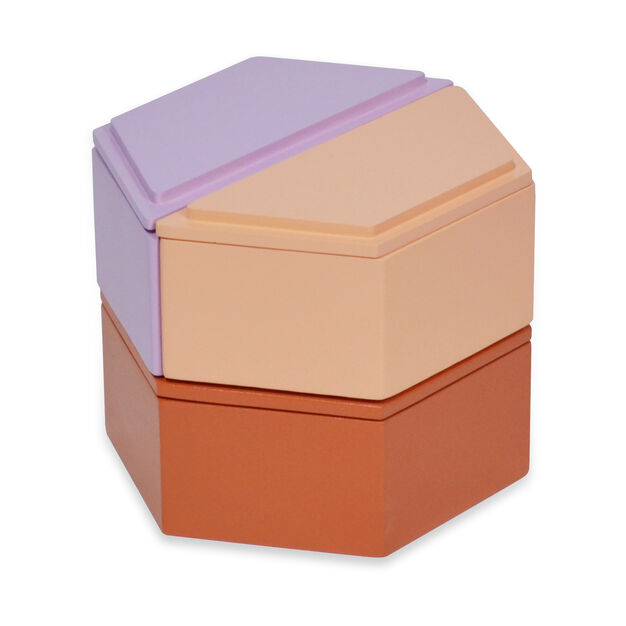 Honeycomb Stacking Jewelry Boxes in color Warm Tones