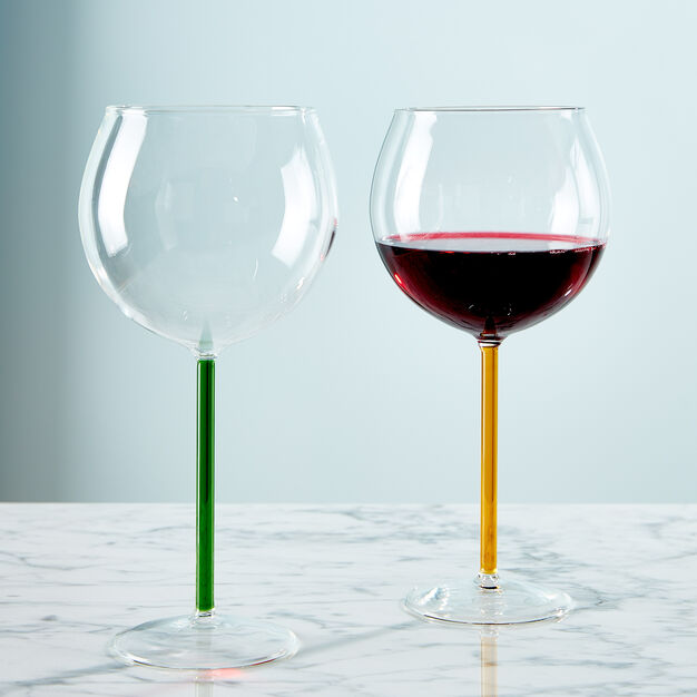 Color Accent Red Wine Glasses Set in color Green/ Yellow
