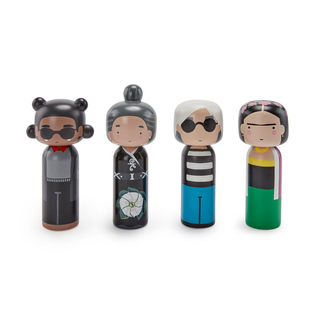 Artist Wooden Dolls in color Basquiat