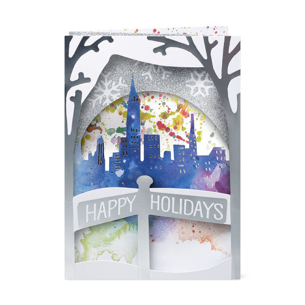 Winter Skyline Holiday Cards in color