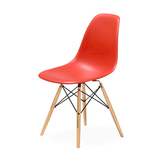 Eames® Molded Plastic Side Chair with Dowel in color Red