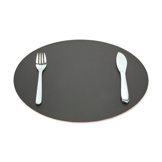 Dual-Sided Recycled Leather Placemat in color Green/ Black