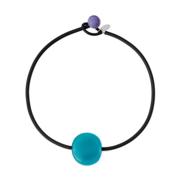 Glass Bonbon Necklace Purple/Turquoise in color