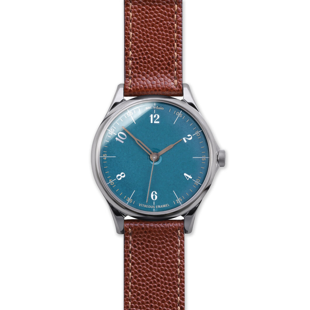 anOrdain Model 1 Watch - Teal Dial in color Pin Grain