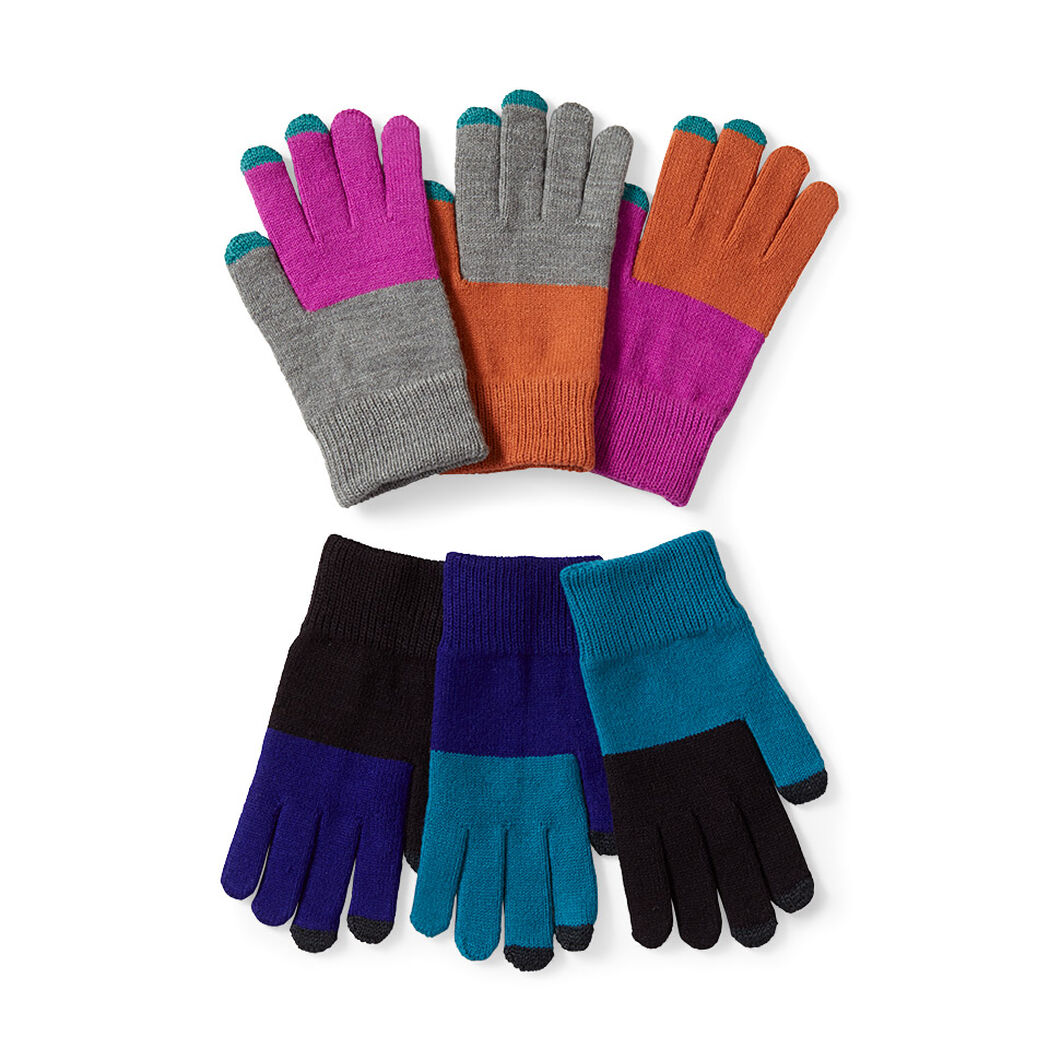 Pair & a Spare Color Block Smart Gloves in color Pink