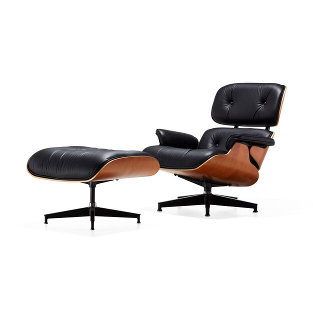 Eames Lounge Chair with Ottoman in color Black/Cherry