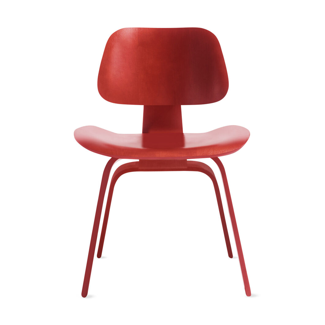 Eames® Molded Plywood Dining Chair (DCW) from Herman Miller© in color Red