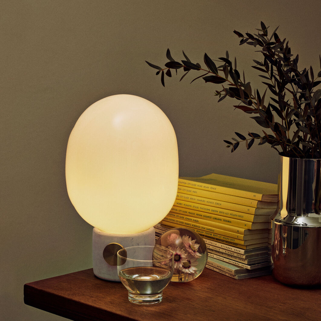 JWDA Table Lamp in color Concrete Light Gray/ Brass