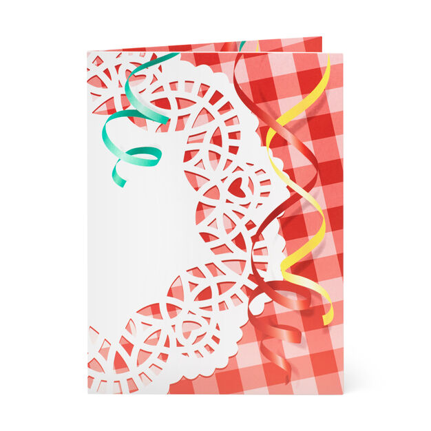 Gingham Cupcake Pop-Up Note Card in color