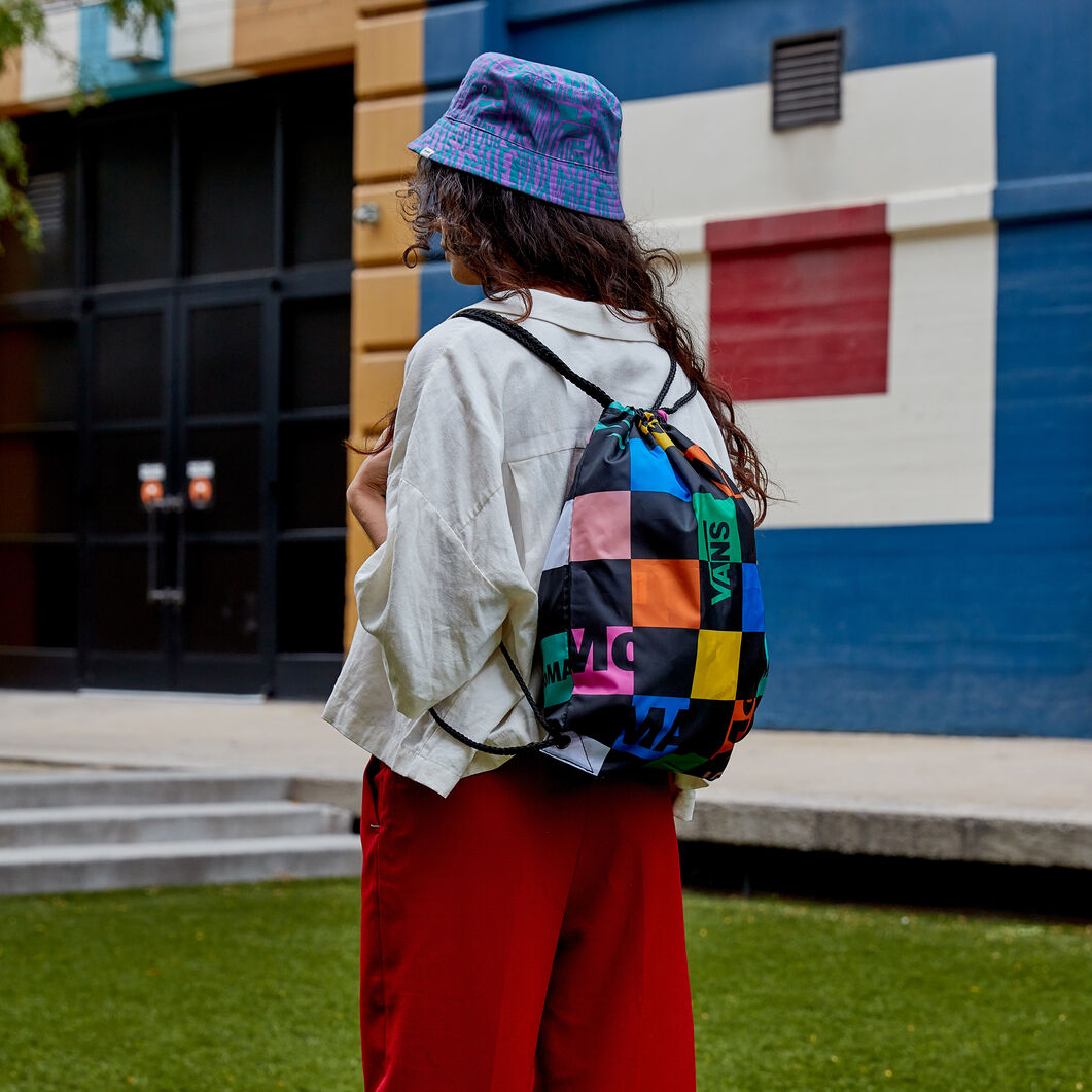 MoMA and Vans Checkerboard Logo Drawstring Backpack in color