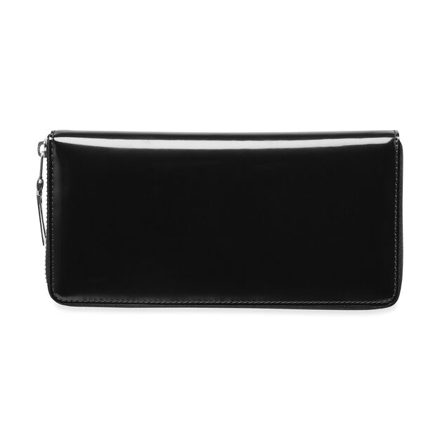 Comme des Garçons Solid Black Wallet with Metallic Interior in color