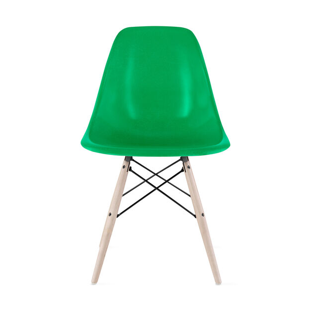 Eames®Molded Fiberglass Side Chair  Green in color