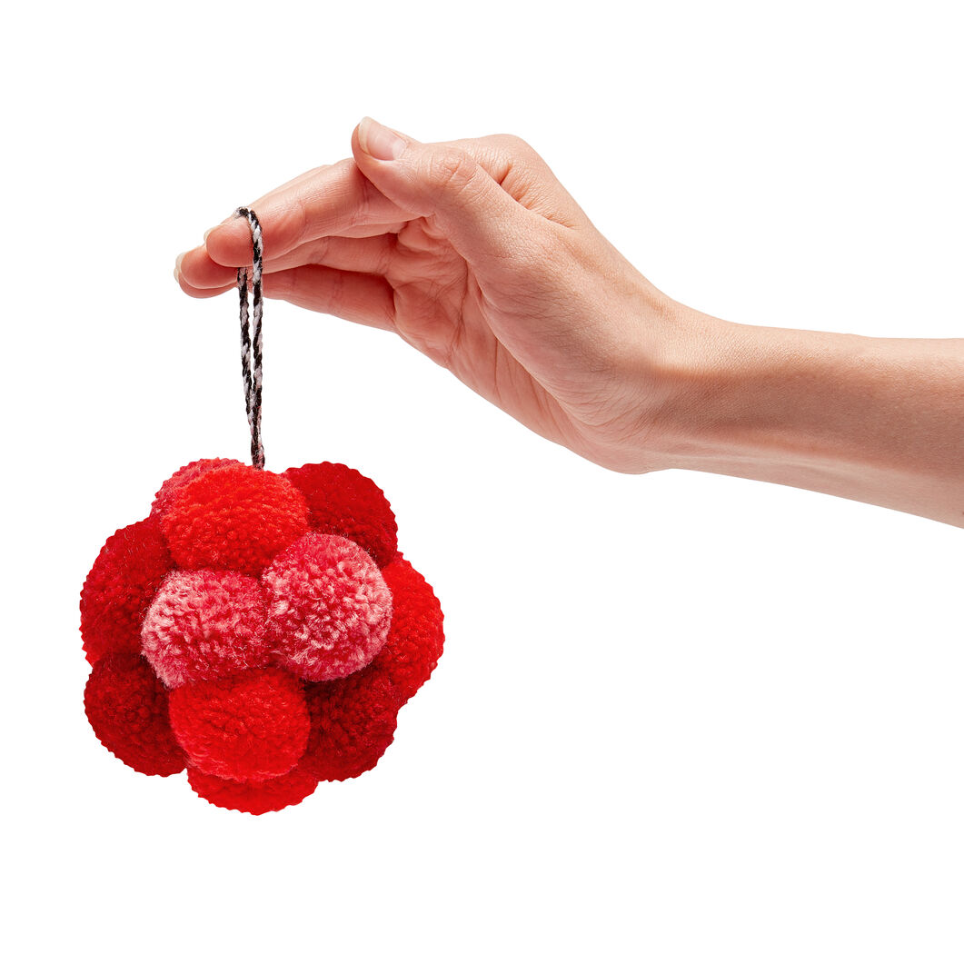 Pompom Holiday Ornaments in color Red