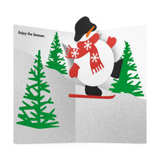 Skiing Snowman Holiday Cards in color