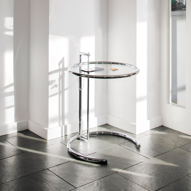 E1027 Side Table in color Chrome Frame/ Clear Glass