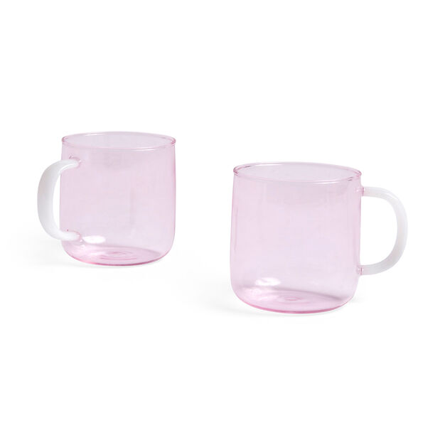HAY Glass Mugs - Set of 2 in color Pink/ White