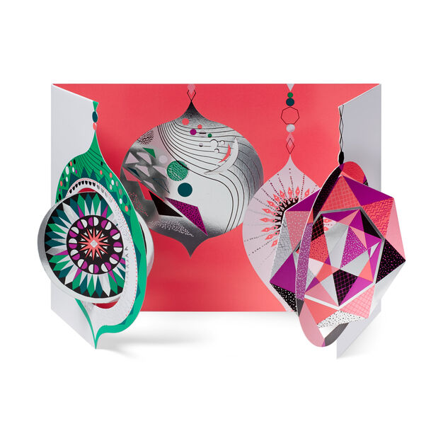 Faceted Baubles Holiday Cards in color