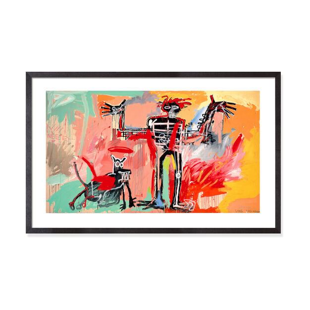 Basquiat: Boy and Dog in a Johnnypump Framed Print in color