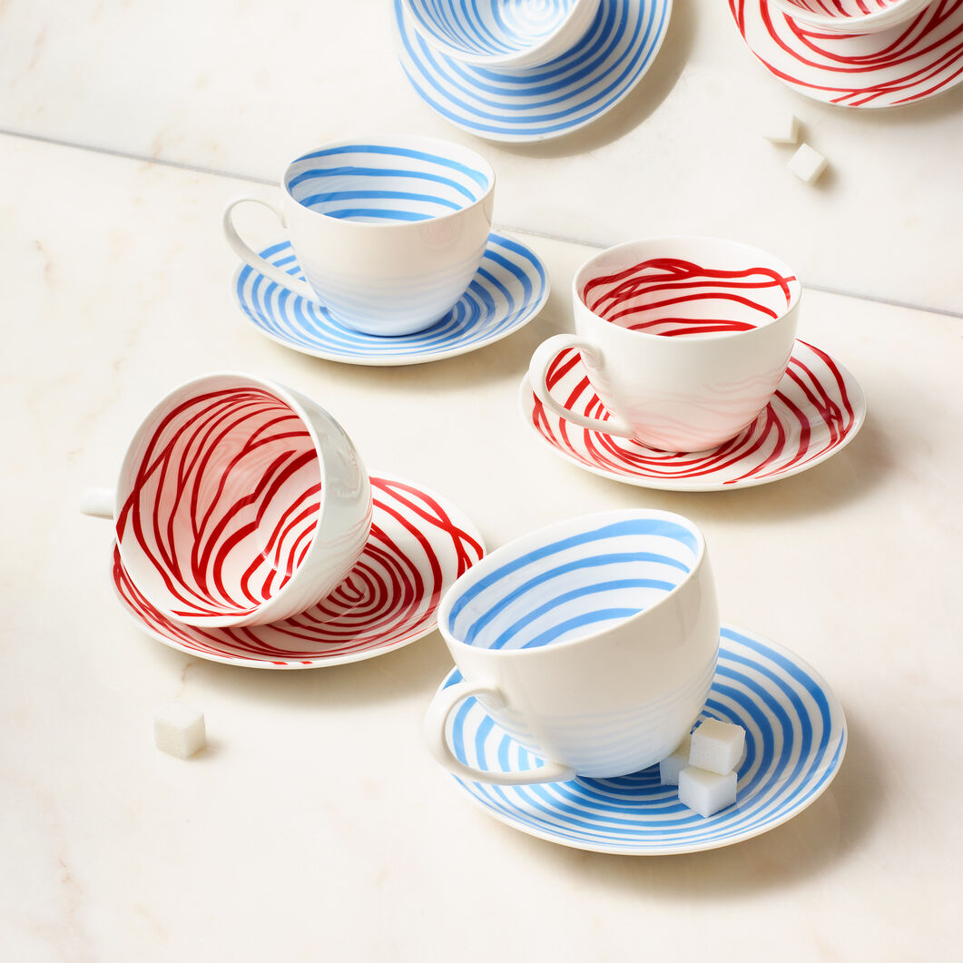 Louise Bourgeois Spirals Teacup & Saucer in color Blue