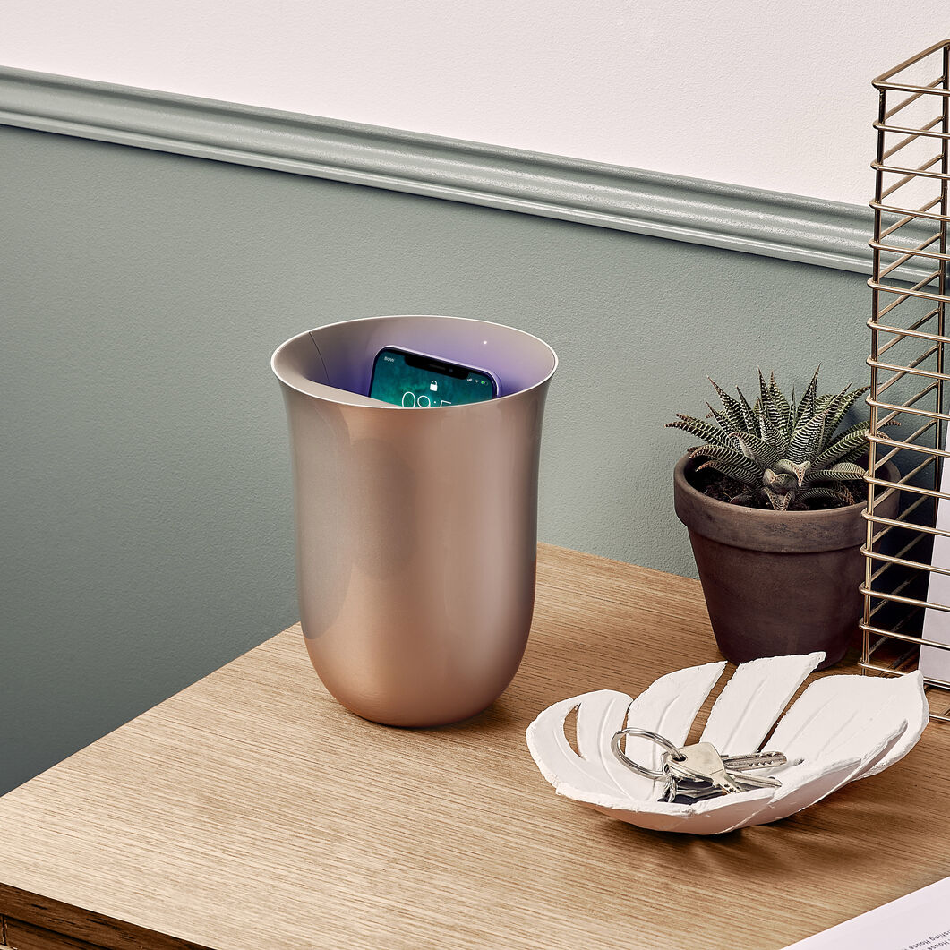 Lexon Oblio Wireless Charging Station & UV Sanitizer in color Gold