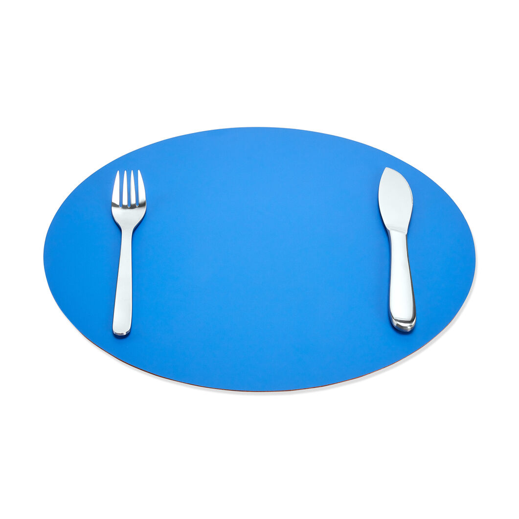 Dual-Sided Recycled Leather Placemat in color Blue/ Nude