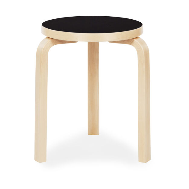 Artek Aalto Stacking Stool 60 in color Black/ Birch