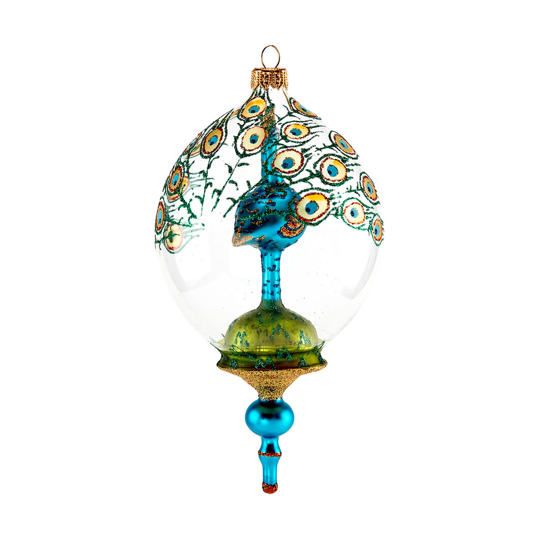 Jeweled Peacock Globe Holiday Ornament in color
